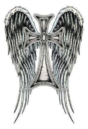 Archangel Michael Wings With Cross Tattoo Design