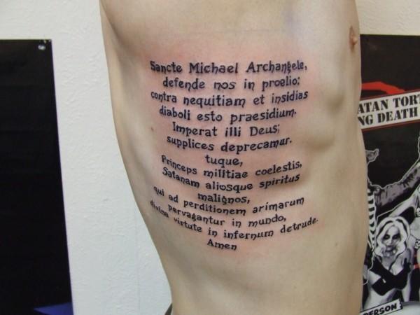 attractive archangel michael prayer tattoo on man right