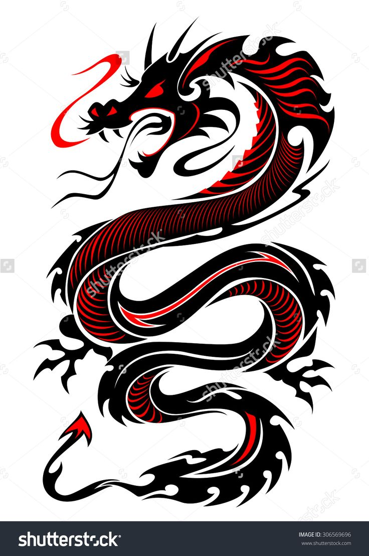 attractive black and red dragon tattoo design. Black Bedroom Furniture Sets. Home Design Ideas