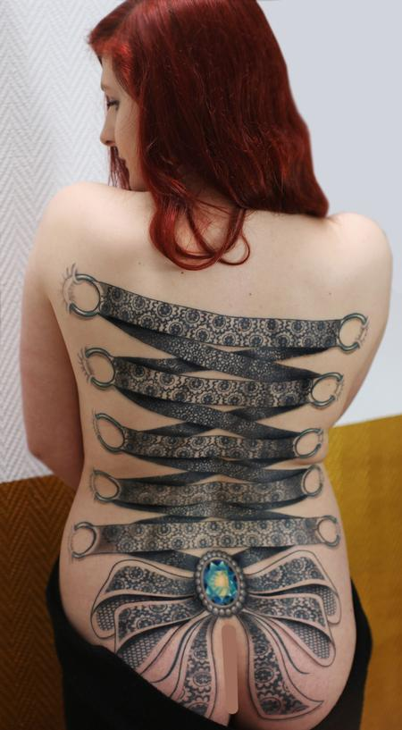 53 lace corset tattoos collection for girls for Full back tattoos women