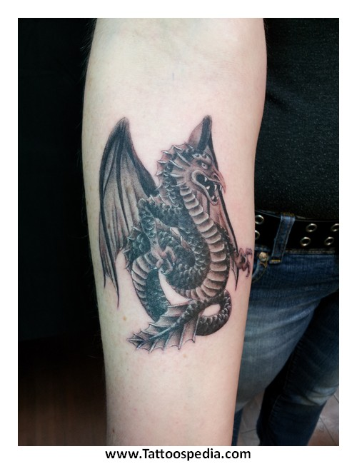 e204ff83d Attractive Black Ink Dragon Tattoo On Forearm