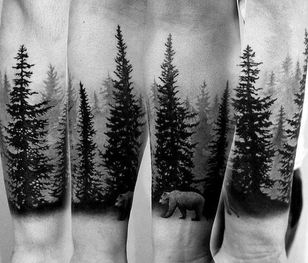 Attractive Black Ink Pine Trees Tattoo On Arm