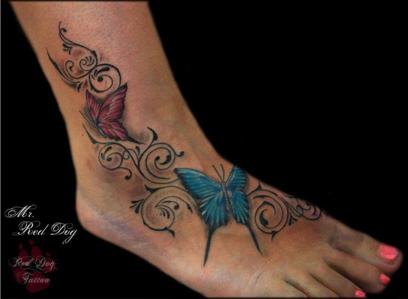 Attractive Butterflies Tattoo On Right Foot