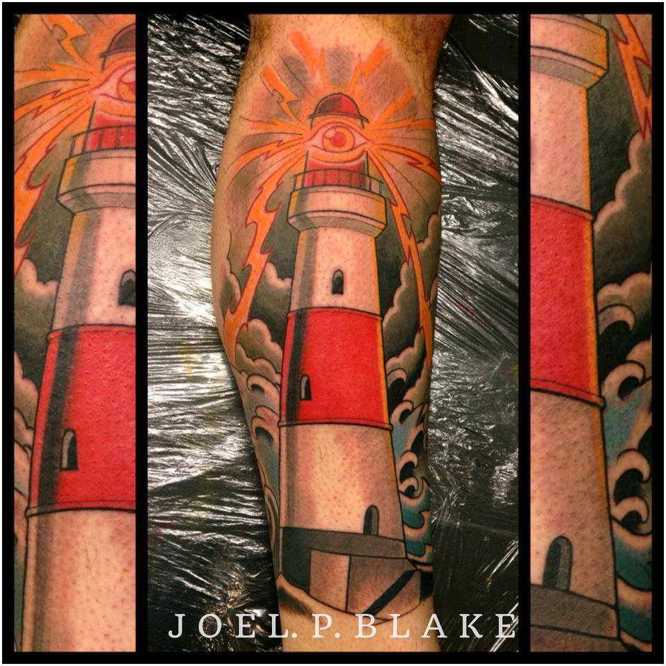 Attractive Lighthouse Tattoo Design For Leg