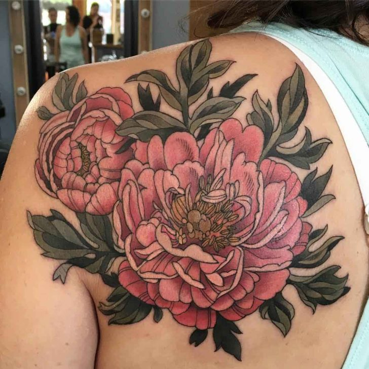 6f71a4a6b Attractive Peony Flowers Tattoo On Left Back Shoulder By Alice Kendall