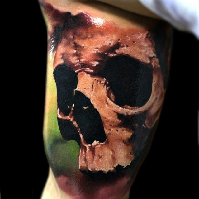 Awesome 3D Skull Tattoo On Bicep