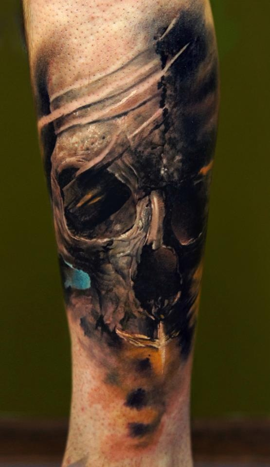 47 best 3d skull tattoos collection for Skull leg tattoos