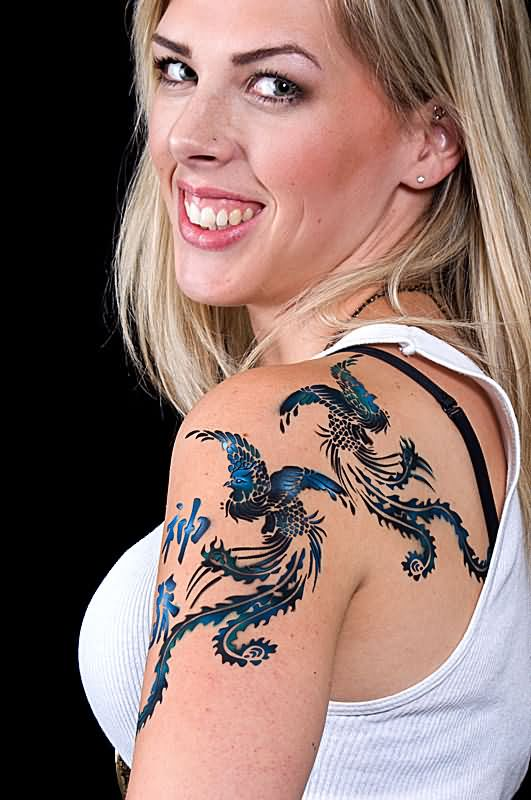 Awesome Airbrush Two Phoenix Tattoo On Women Left Shoulder