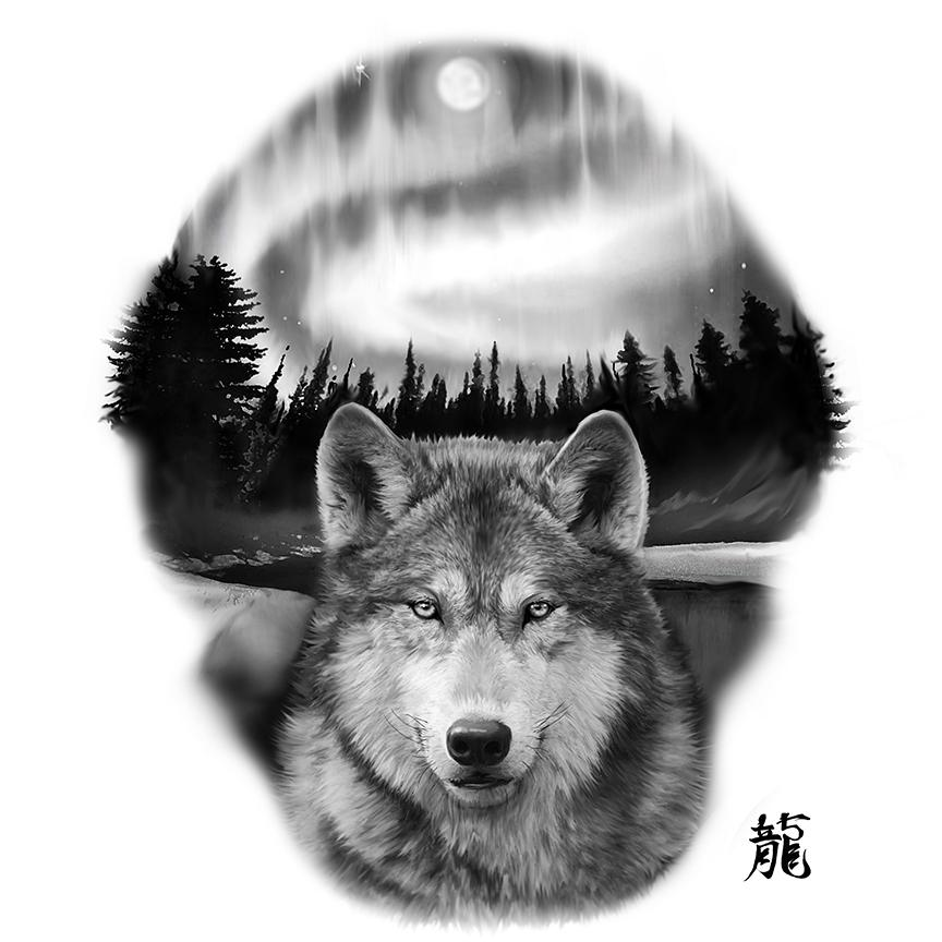 91a2e52649629 Awesome Black And Grey Wolf Tattoo Design
