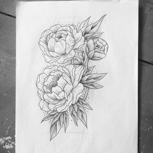 Awesome Black And White Peony Flowers Tattoo Design