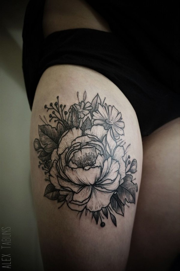 Awesome Black And White Peony Flowers Tattoo On Right Thigh