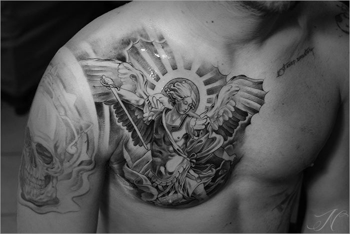 467ac8a5c Awesome Black Ink Archangel Michael Tattoo On Man Right Chest