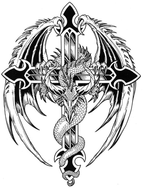 Awesome Black Ink Dragon With Cross Tattoo Design