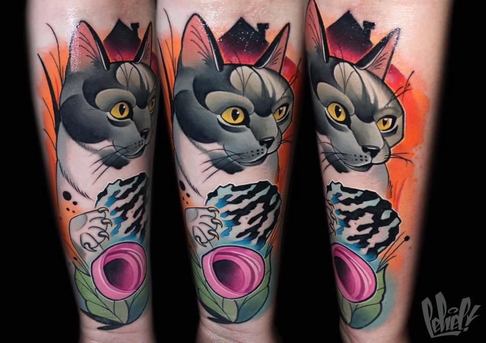 Awesome Cat Face Tattoo On Forearm