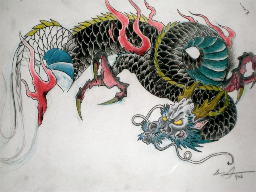 28 japanese dragon tattoos designs. Black Bedroom Furniture Sets. Home Design Ideas
