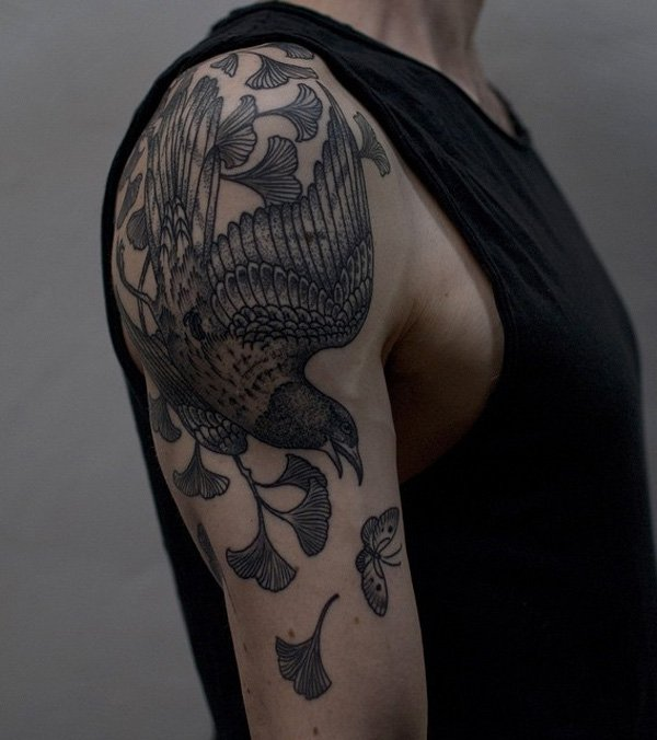 57 Awesome Quotes Shoulder Tattoos: 58+ Best Crow Tattoos Ideas