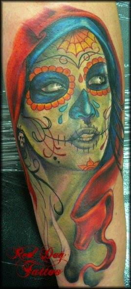 Awesome Dia De Los Muertos Girl Head Tattoo Design For Sleeve