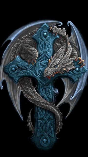 Awesome Dragon With Celtic Cross Tattoo Design