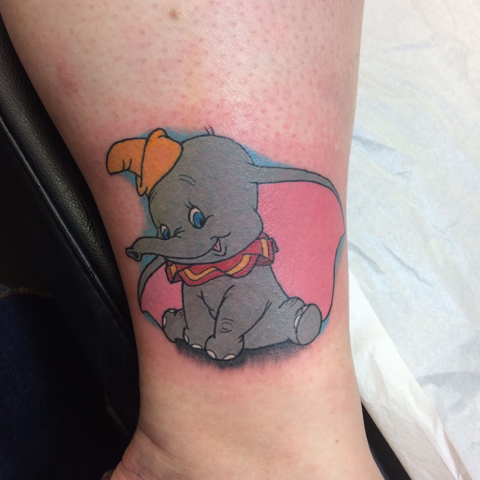 b1e613b47 Awesome Dumbo Elephant Tattoo On Leg