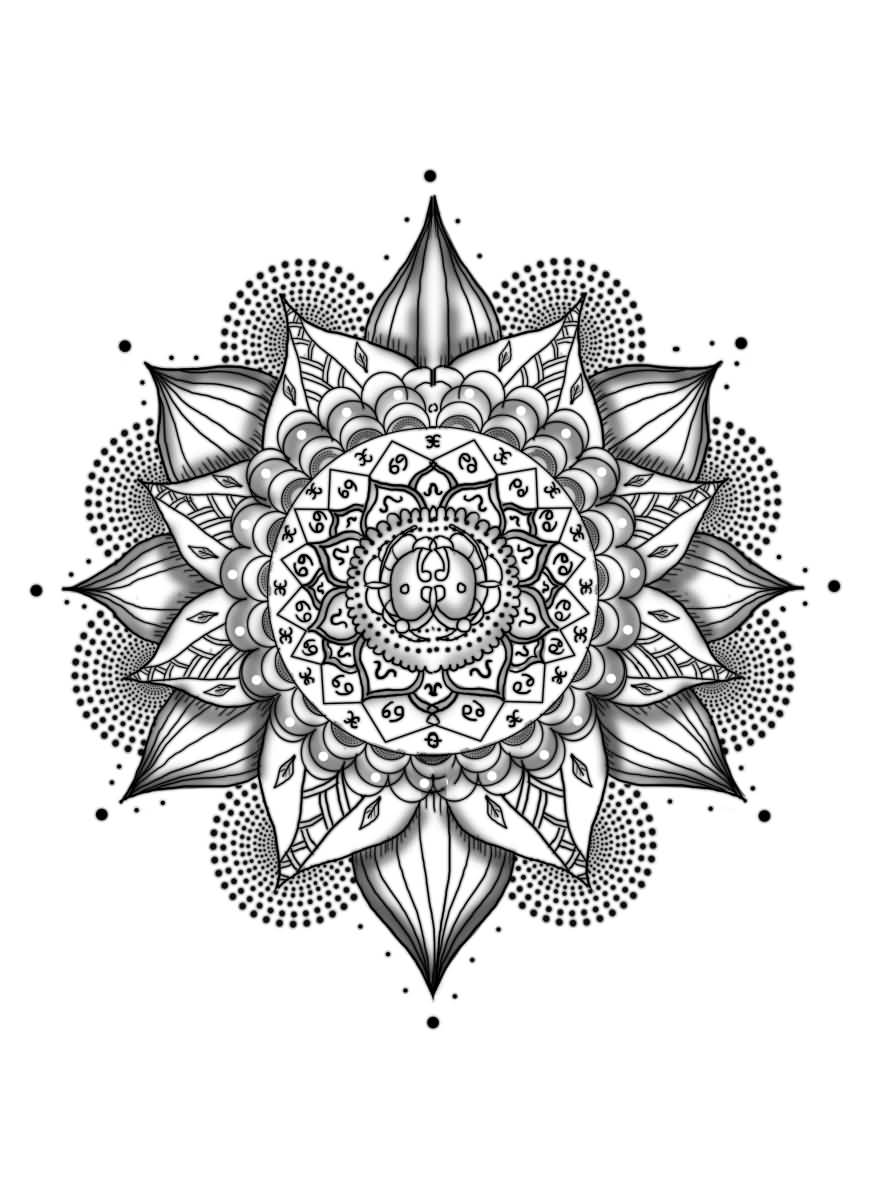 Awesome Mandala Flower Tattoo Design