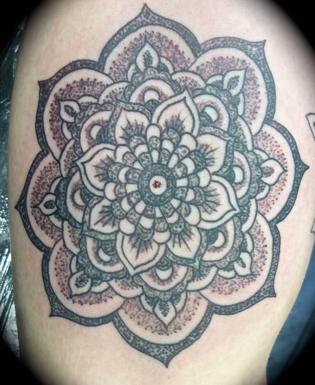 Mandala And Flower Tattoo: Awesome Mandala Flower Tattoo Idea