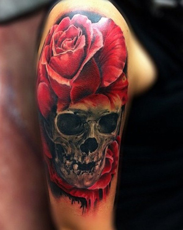c7e872d238d18 Awesome Rose And 3D Skull Tattoo On Half Sleeve