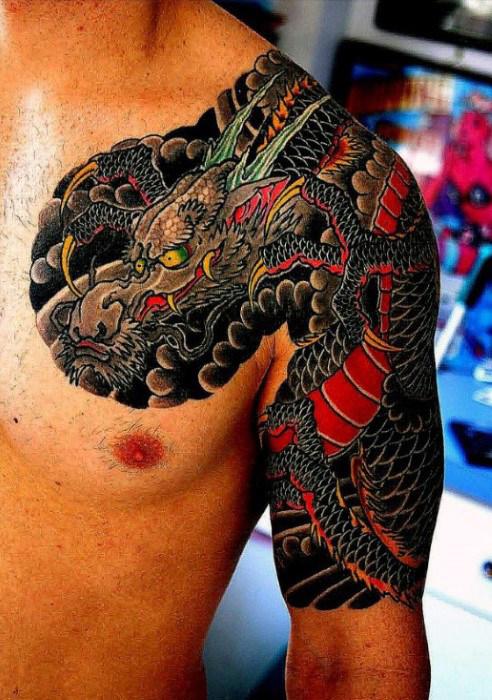 48+ Dragon Tattoos On Men Half Sleeve