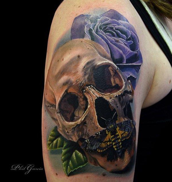 mechanical 3d skull tattoo on left half sleeve. Black Bedroom Furniture Sets. Home Design Ideas