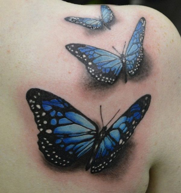 e07df4656 Black And Blue Butterfly Tattoos On Right Back Shoulder