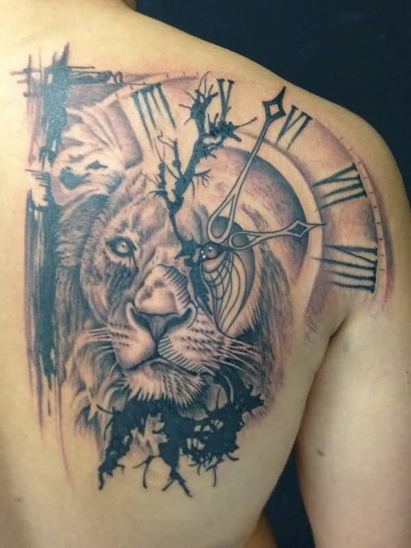 Black And Grey African Lion Head With Clock Tattoo On Right Back Shoulder