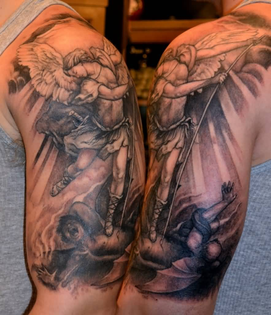 St Michael Back Tattoos: 32+ Amazing Half Sleeve Archangel Tattoos
