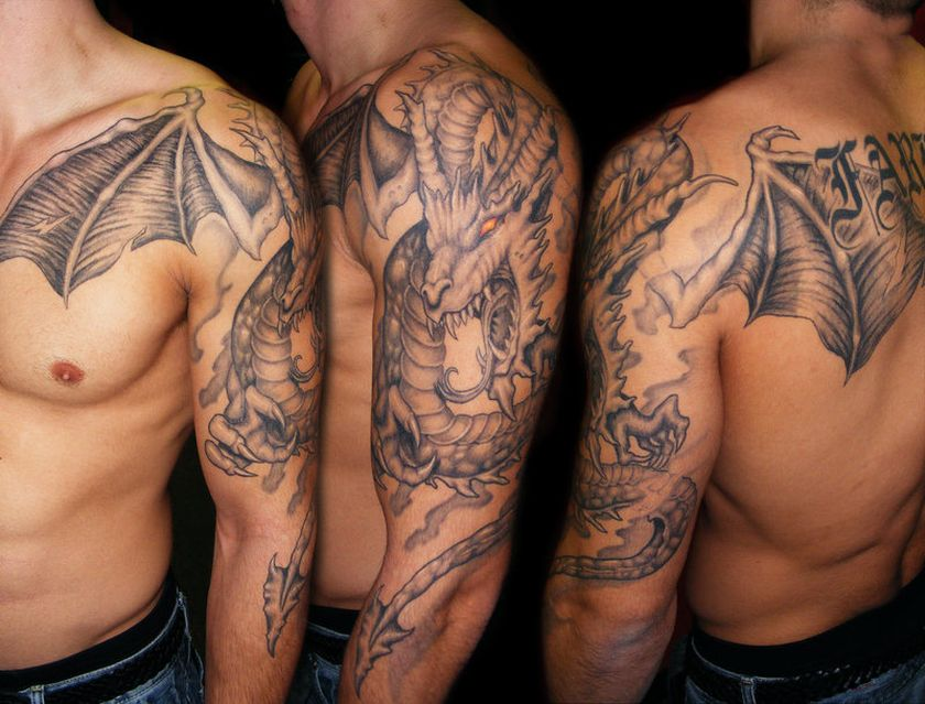 65 dragon tattoos on shoulder. Black Bedroom Furniture Sets. Home Design Ideas