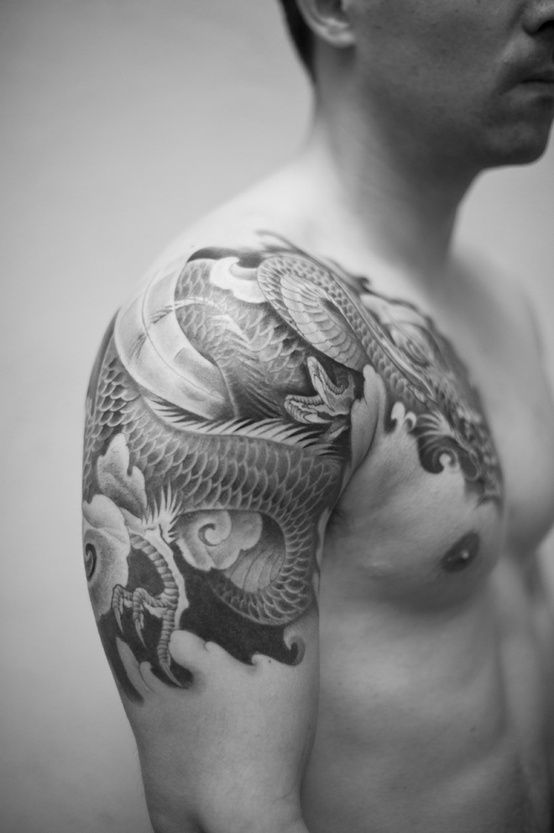 5537a084e Black And Grey Dragon Tattoo On Man Right Shoulder By Craftz Berlin