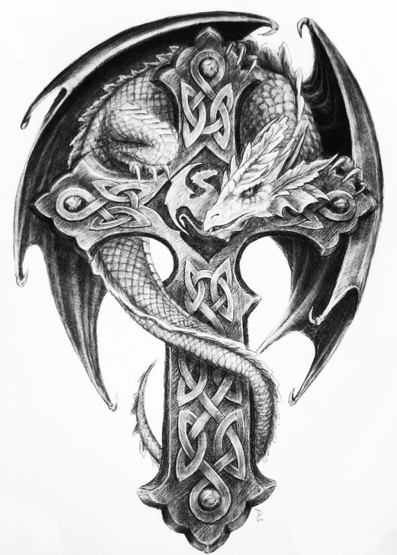 Black And Grey Dragon With Celtic Cross Tattoo Design