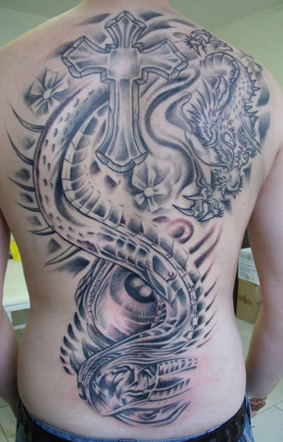 Black And Grey Dragon With Cross Tattoo On Man Full Back