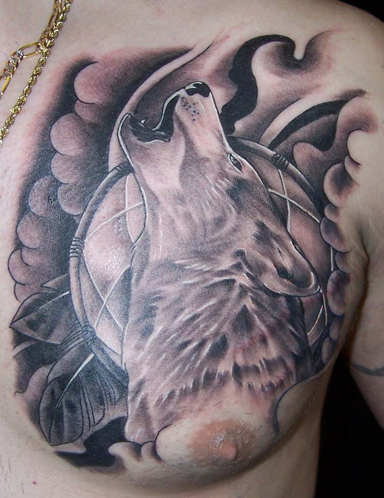 8b93c5e7b Black And Grey Howling Wolf Tattoo On Man Chest