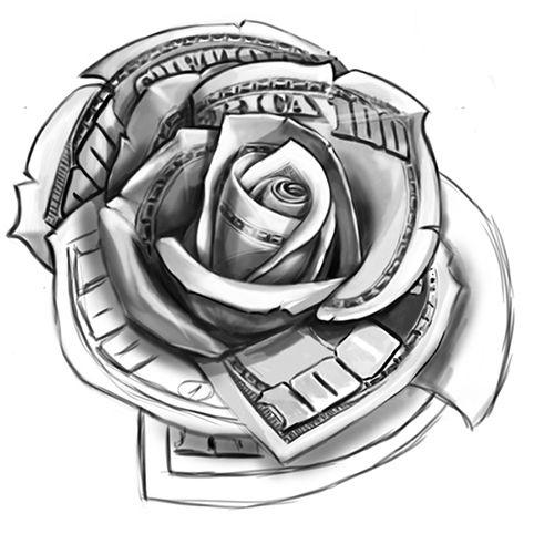 21+ Money Rose Tattoo Designs For Hand - photo#1