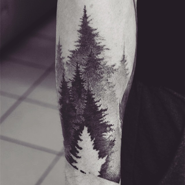 Black And Grey Pine Trees Tattoo Design For Sleeve