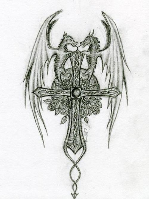 Black And Grey Two Dragons With Cross Tattoo Design