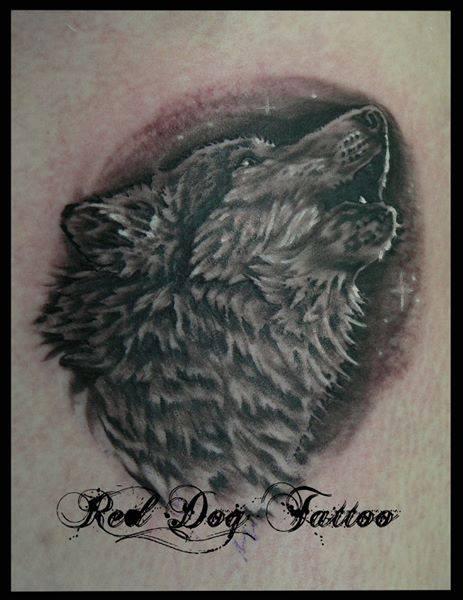 Black And Grey Wolf Head Tattoo Design