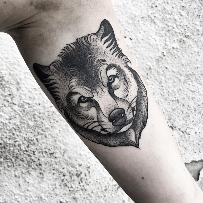 Black And Grey Wolf Head Tattoo On Inner Bicep