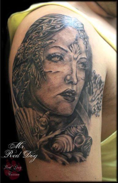 black ink beetle with women head tattoo on full sleeve. Black Bedroom Furniture Sets. Home Design Ideas