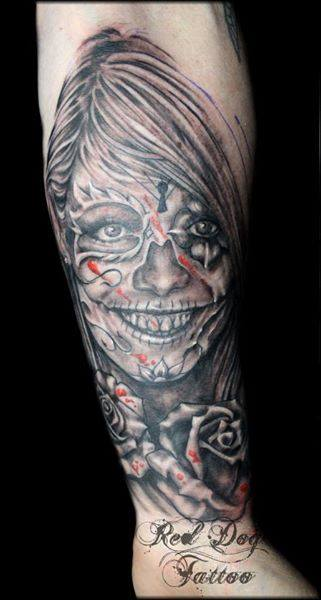 Black And Red Dia De Los Muertos Girl Face Tattoo On Forearm