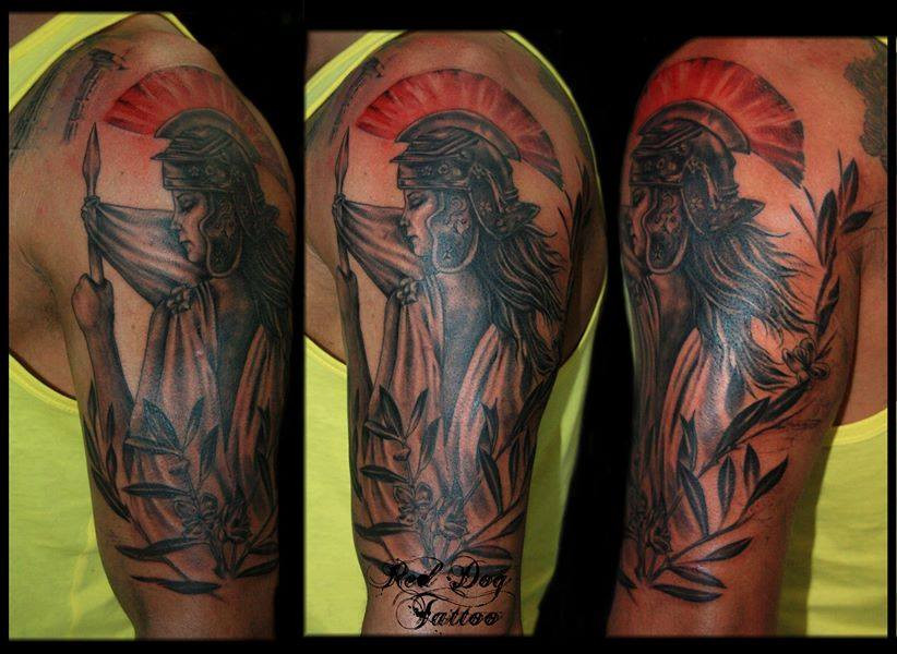 Black And Red Warrior Tattoo On Left Half Sleeve