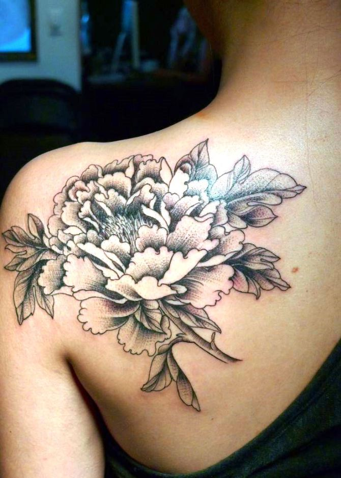 Black And White Peony Flower Tattoo On Left Back Shoulder