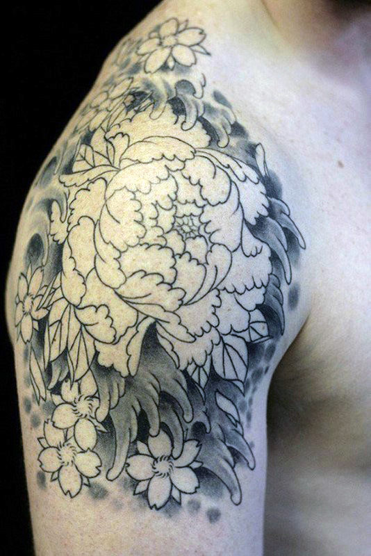 Black And White Peony Flower Tattoo On Man Right Shoulder