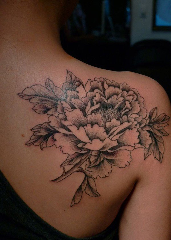 Black And White Peony Flower Tattoo On Women Right Back Shoulder
