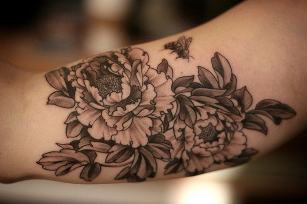 Black And White Peony Flowers Tattoo Design For Bicep