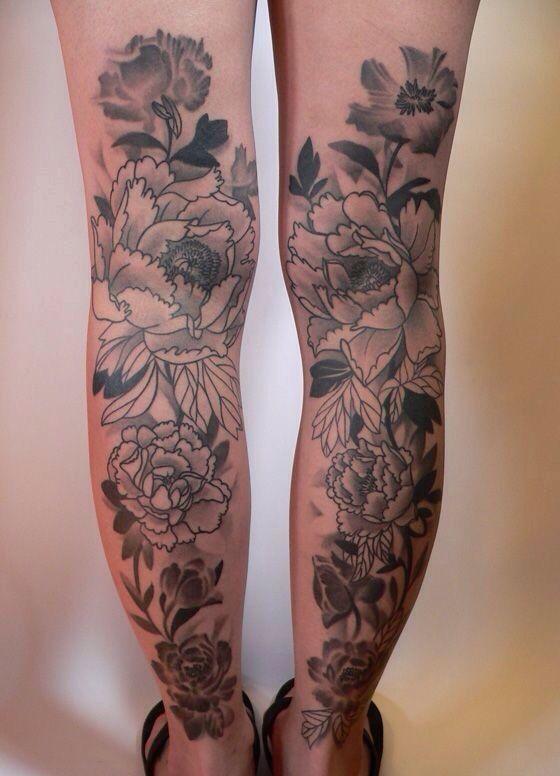 Black And White Peony Flowers Tattoo On Both Leg Calf