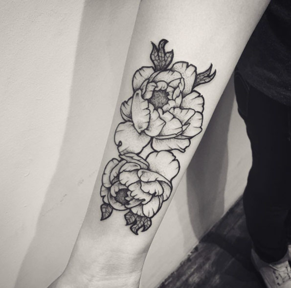 Black And White Peony Flowers Tattoo On Forearm